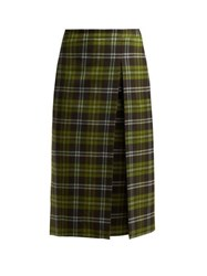 Connolly Checked Wool Blend Skirt Green Multi