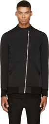 Thamanyah Black Minimal Long Bomber Jacket