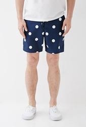 Forever 21 Polka Dot Swim Trunks Navy White