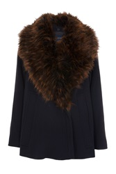 French Connection Mia Wool Fur Collar Jacket Navy