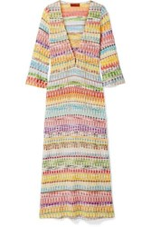 Missoni Mare Metallic Crochet Knit Cotton Blend Kaftan Pink