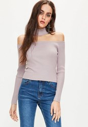 Missguided Purple Ribbed Choker Neck Cropped Jumper Mauve