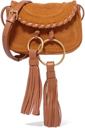 See By Chloe Polly Leather Trimmed Tasseled Suede Shoulder Bag Tan