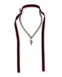 Hipchik Alexa Crystal Pendant Necklace With Velvet Ties Gray