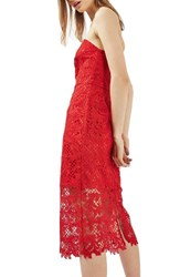 Topshop Women's Strapless Lace Midi Dress Red