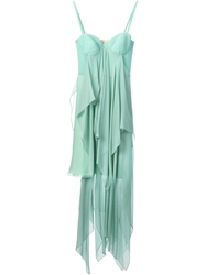 Marios Schwab Layered Spaghetti Strap Dress Green