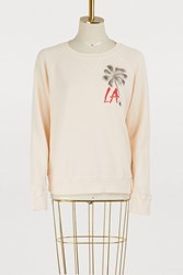 Mother Cotton The Square La Palm Tree Print Sweatshirt Peach