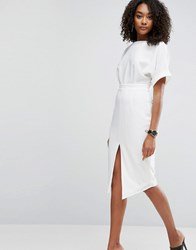 Asos Wiggle Dress With Split Front Ivory White