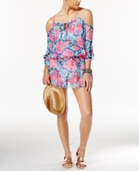 Miken Floral Print Cold Shoulder Cover Up Women's Swimsuit Pink Floral