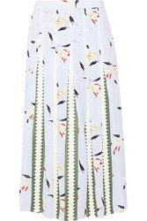 Suno Grosgrain Paneled Printed Silk Crepe De Chine Midi Skirt Blue