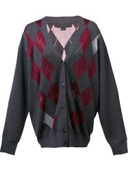Alexander Wang Argyle Cardigan With Sheer Diamonds Grey