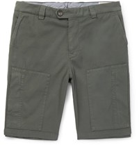 Brunello Cucinelli Stretch Cotton Twill Shorts Green