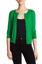Cable And Gauge Crew Cardigan Petite Green