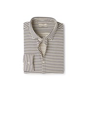 Mango Slim Fit Patterned Striped Shirt Cream