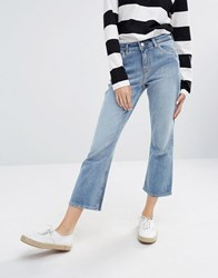 Weekday Cut Mid Rise Crop Kick Flare Jeans Bench Blue