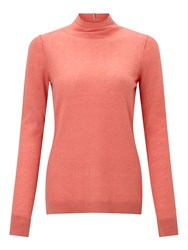 Jigsaw Wafer Cashmere Polo Neck Coral