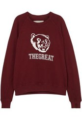 The Great Great. Woman College Printed French Cotton Terry Sweatshirt Burgundy