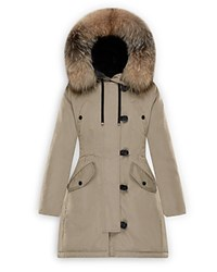 Moncler Aredhel Fox Fur Trim Down Parka Dark Beige
