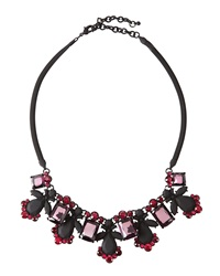 Fragments For Neiman Marcus Fragments Rubber Coated Crystal Bib Necklace Pink