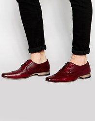River Island Leather Brogues With Pointed Toe In Dark Red Burg