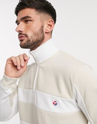 Topman Funnel Neck Sweat In Stone And White