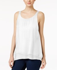Kensie Sleeveless Crochet Trim Tank Top White