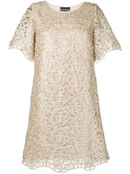 Boutique Moschino Short Lace Dress Gold
