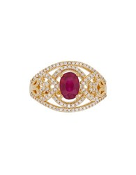 Lord And Taylor Diamonds Ruby 14K Yellow Gold Ring Red