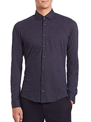 Sand Textured Dress Shirt Navy
