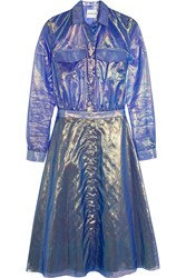 Alexander Lewis Suncrest Organza Shirt Dress Blue