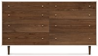 Copeland Furniture Mimo Bedroom 8 Drawer Bronze Legs White Brown