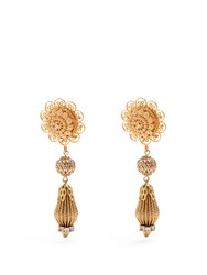 Dolce And Gabbana Filigree Clip On Drop Earrings Gold