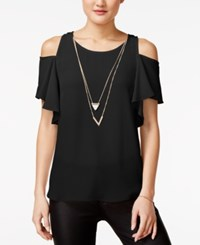 Amy Byer Bcx Juniors' Ruffle Sleeve Cold Shoulder Top With Necklace Black
