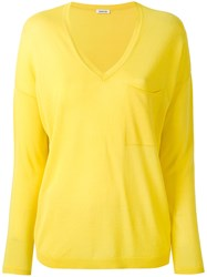 P.A.R.O.S.H. V Neck Sweater Women Cotton Viscose Xs Yellow Orange