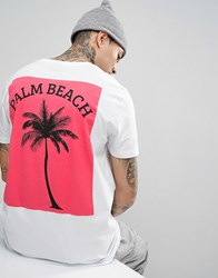 Asos Longline T Shirt With Pink Palm Back Print White
