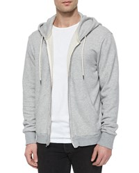 Rag And Bone Full Zip Hooded Sweatshirt Light Gray Light Grey