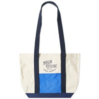 Maison Kitsune Colour Block Tote Blue