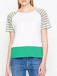 Karen Millen Sheer Striped Jersey T Shirt Multicolour