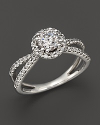 Bloomingdale's Diamond Halo Ring In 14K White Gold 1.25 Ct. T.W.