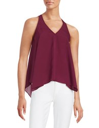 Guess Chain Accented Asymmetrical Tank Top Sangria