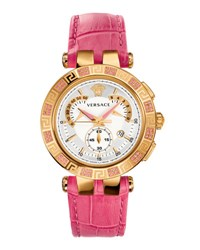 Versace V Race Chronograph Watch W Topaz Pave And Leather Strap Golden Pink