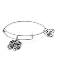 Alex And Ani Four Leaf Clover Expandable Wire Bangle Rafaelian Silver