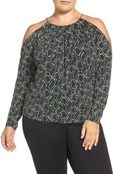 Michael Michael Kors Plus Size Women's Print Braid Neck Cold Shoulder Top