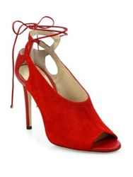 Jimmy Choo Macaw Suede And Leather Mule Slingbacks Red Black