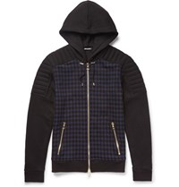 Balmain Checked Cotton Jerey Hoodie Navy