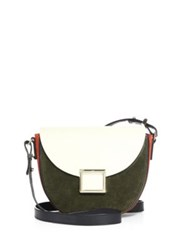 Jason Wu Mini Jaime Two Tone Leather Saddle Bag Olive