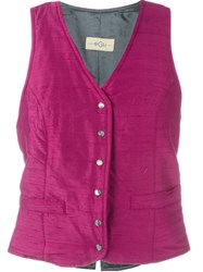 Romeo Gigli Vintage V Neck Gilet Pink And Purple