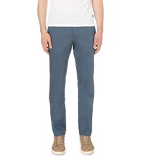 Hugo Boss Slim Fit Tapered Stretch Cotton Trousers Turquoise Aqua