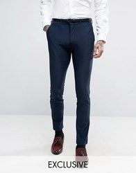 Only And Sons Super Skinny Suit Trousers In Jersey Navy