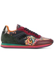 Etro Paisley Panel Lace Up Sneakers Women Cotton Calf Leather Leather Rubber 41 Red